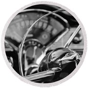 1956 Chevrolet Belair Steering Wheel Round Beach Towel