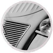 1956 Citroen 2cv Grille -0081bw Round Beach Towel