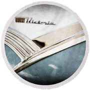 1956 Ford Crown Victoria Glass Top Emblem Round Beach Towel