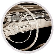 1956 Oldsmobile Starfire 98 Steering Wheel And Dashboard Round Beach Towel