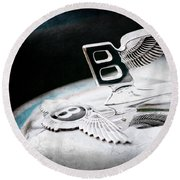 1957 Bentley S-type Hood Ornament - Emblem Round Beach Towel