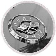 1957 Dual-ghia Convertible Emblem Round Beach Towel