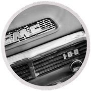 1957 Gmc V8 Pickup Truck Grille Emblem Round Beach Towel