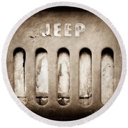 1957 Jeep Emblem Round Beach Towel