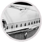 1958 Oldsmobile Super 88 Grille Emblems - Hood Orament Round Beach Towel