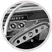 1961 Chevrolet Impala Ss Steering Wheel Emblem Round Beach Towel