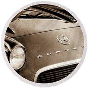 1962 Chevrolet Corvette Hood Emblems Round Beach Towel