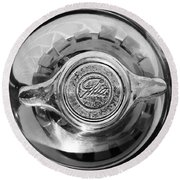 1962 Ghia L6.4 Coupe Wheel Emblem -2169bw Round Beach Towel