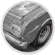 1963 Ford Falcon Sprint Convertible Bw  Round Beach Towel