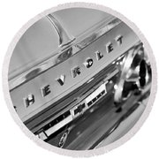1964 Chevrolet Impala Taillights And Emblems Round Beach Towel