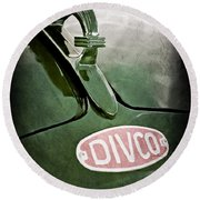 1965 Divco Milk Truck Hood Ornament Round Beach Towel