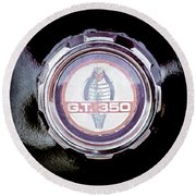1966 Ford Mustang - Cobra Gt 350 Emblem Round Beach Towel