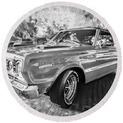 1967 Plymouth Belvedere Gtx 440 Painted Bw Round Beach Towel