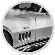 1969 Chevrolet Corvette 427  Bw Round Beach Towel