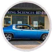 1974 Plymouth Roadrunner Round Beach Towel