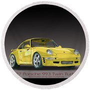 1997 Porsche  993 Twin Turbo Round Beach Towel