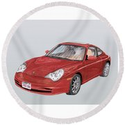2002 Porsche 996  Round Beach Towel