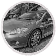 2006 Mitsubishi Eclipse Gt V6 Painted Bw Round Beach Towel