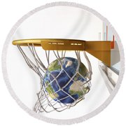 3d Rendering Of Planet Earth Falling Round Beach Towel by Leonello Calvetti