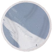 A Backcountry Skier In The Sawtooth Round Beach Towel