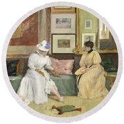 A Friendly Call Round Beach Towel by William Merritt Chase