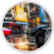 A Rainy Day In New York Round Beach Towel by Hannes Cmarits