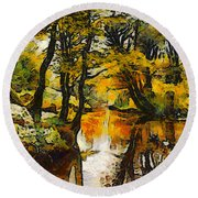 A River Landscape In Springtime Round Beach Towel