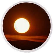A Slow Red Sunset Round Beach Towel