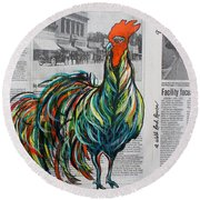 A Well Read Rooster Round Beach Towel