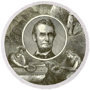 Abraham Lincoln Round Beach Towel by English School