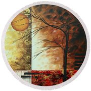 Abstract Gold Textured Landscape Painting By Madart Round Beach Towel