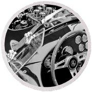Ac Shelby Cobra Engine - Steering Wheel Round Beach Towel