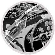 Ac Shelby Cobra Engine - Steering Wheel Round Beach Towel by Jill Reger