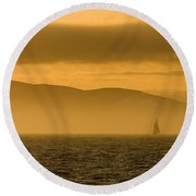 Acadia National Park Sunset Round Beach Towel
