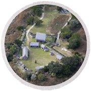 Aerial Near Jekyll Island Round Beach Towel