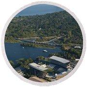 Aerial View Of The New Husky Stadium Round Beach Towel