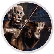 Albert Einstein And Violin Round Beach Towel