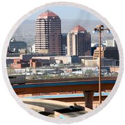 Albuquerque Skyline Round Beach Towel