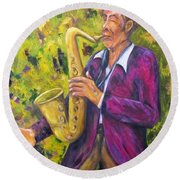 All That Jazz, Saxophone Round Beach Towel