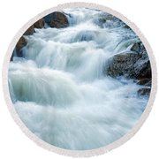 Alluvial Fan Falls On Roaring River In Rocky Mountain National Park Round Beach Towel