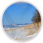 Along The Shore Round Beach Towel