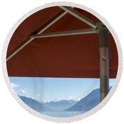 Alpine Lake With Parasol Round Beach Towel