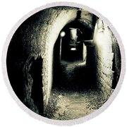 Altered Image Of A Tunnel In The Catacombs Of Paris France Round Beach Towel