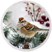 Christmas Sparrow Round Beach Towel