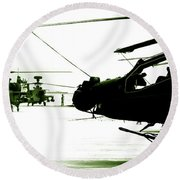 An Apache Ah64d Helicopter Round Beach Towel
