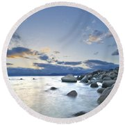 An Evening At Tahoe Round Beach Towel