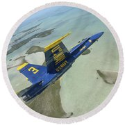 An Fa-18 Hornet Of The Blue Angels Round Beach Towel