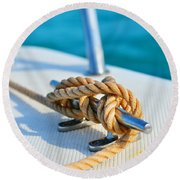 Anchor Line Round Beach Towel by Laura Fasulo