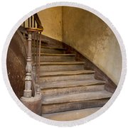 Ancient Staircase Round Beach Towel