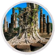 Ancient Temple Ruins Round Beach Towel